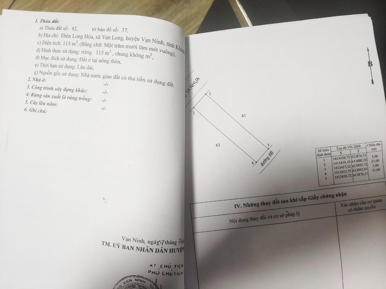 Sổ QL1A Tu Bông 2