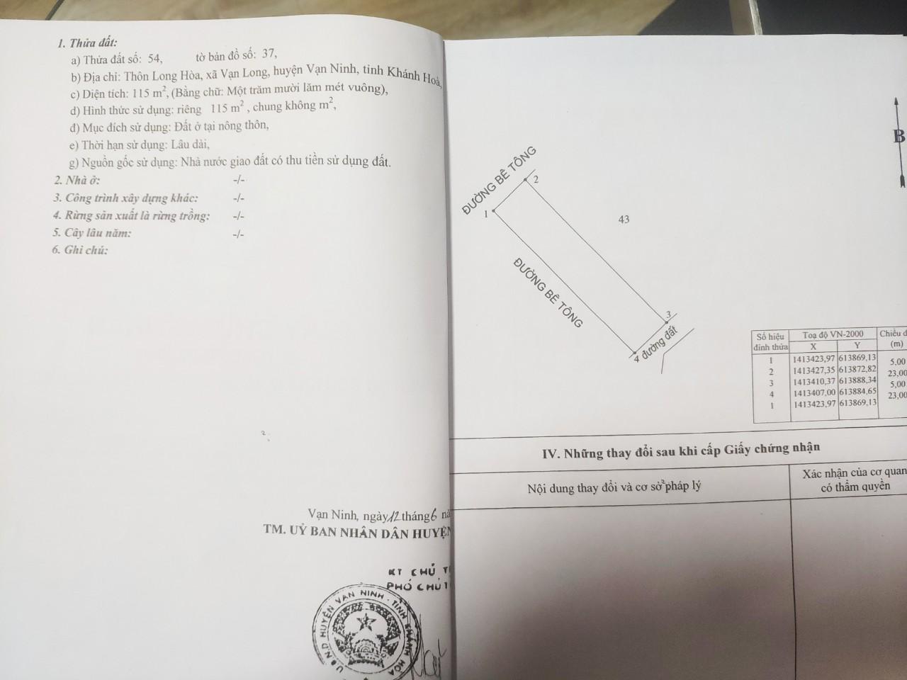 Sổ QL1A Tu Bông 3